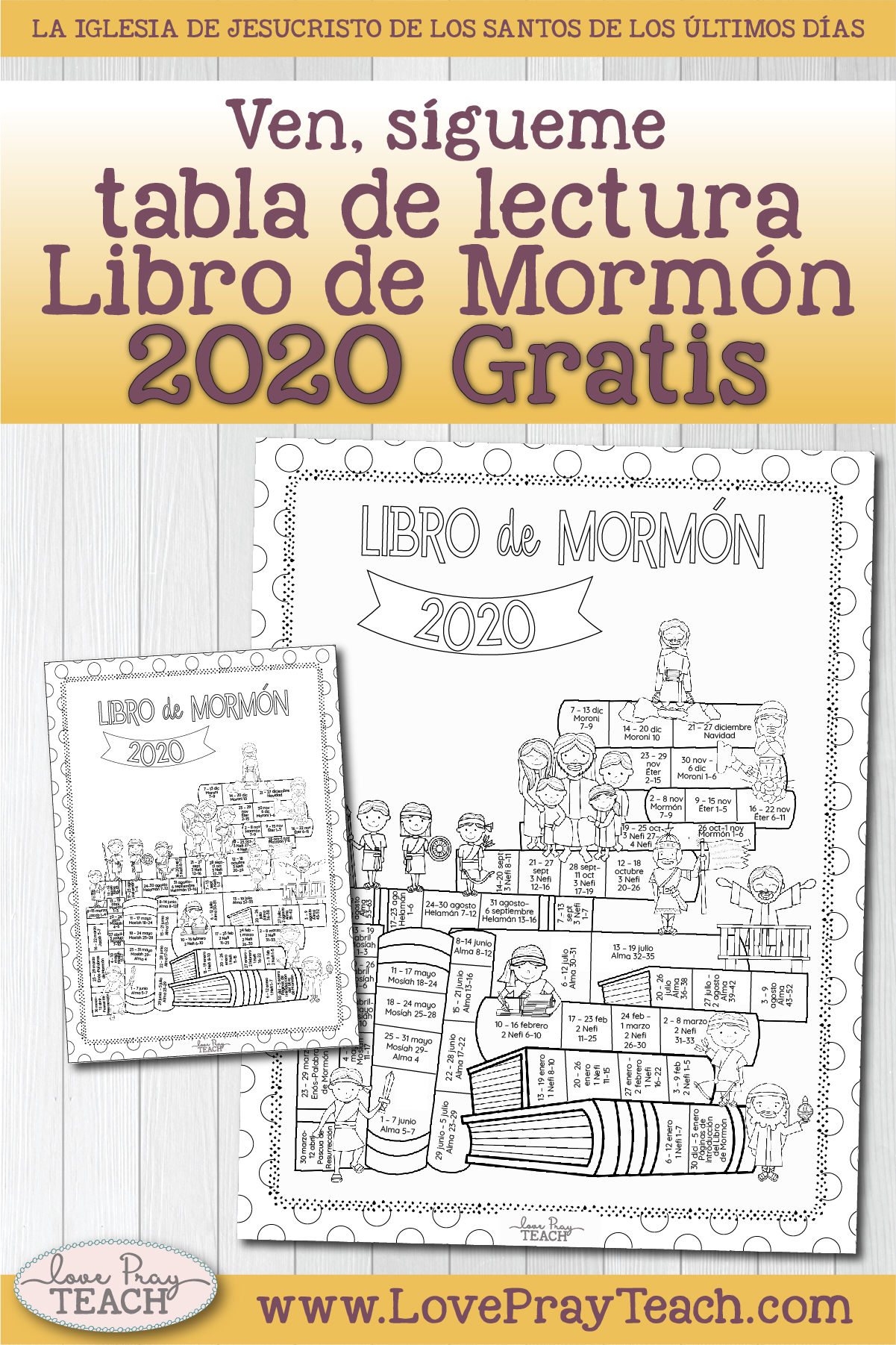 Free Book of Mormon Come, Follow Me Reading Chart in Spanish! www.LovePrayTeach.com