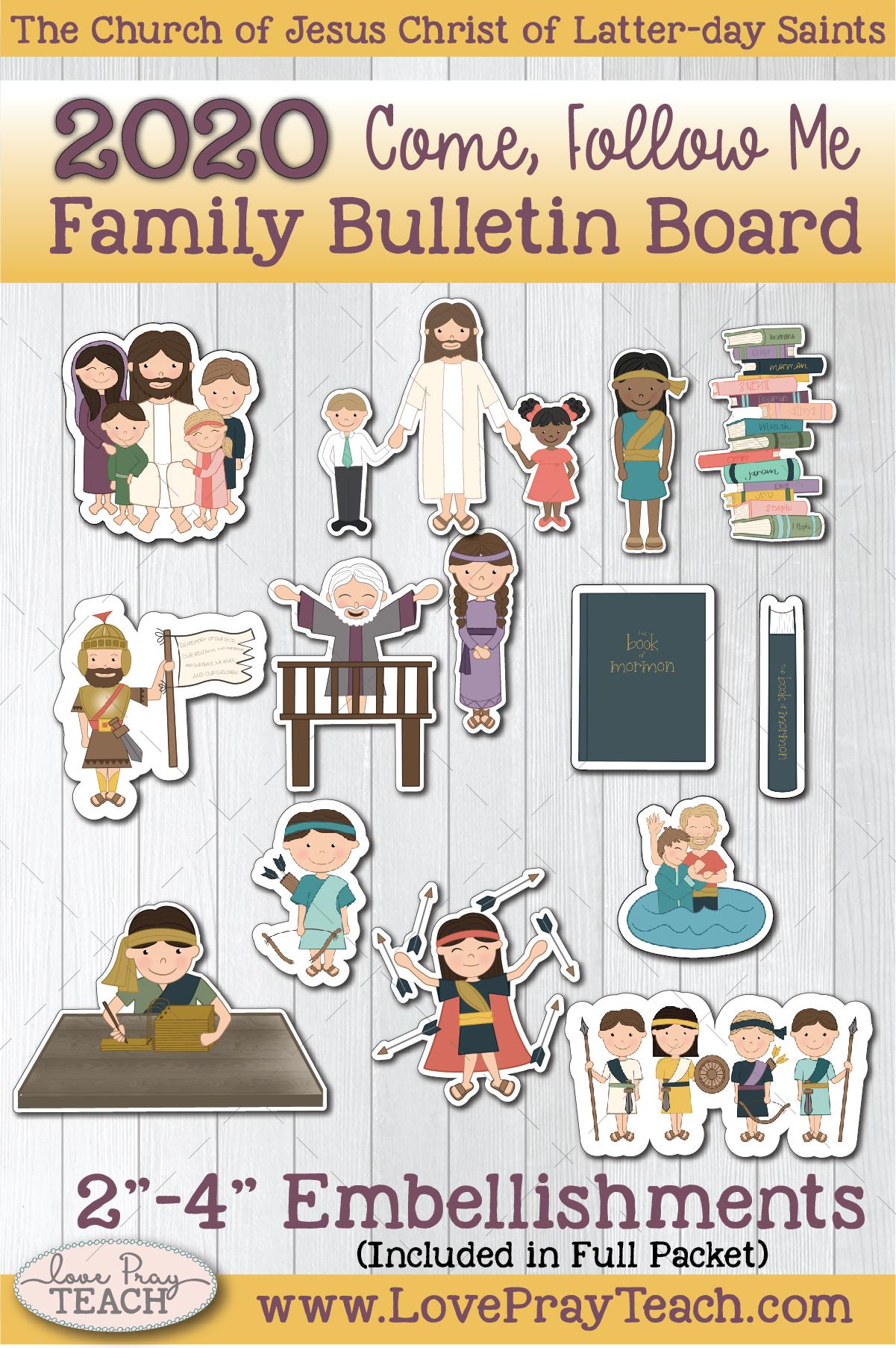 2020 Come, Follow Me Book of Mormon Family Bulletin Board Printable Packet