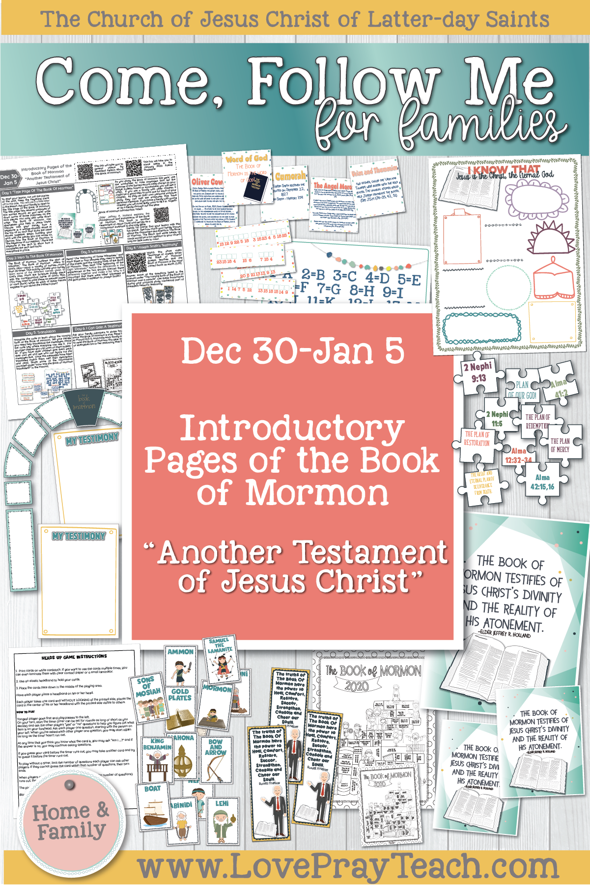 "Come, Follow Me—For Individuals and Families: Book of Mormon 2020 January Week 1: Dec 30– Jan 5 Introductory Pages of The Book of Mormon ""Another Testament of Jesus Christ"""
