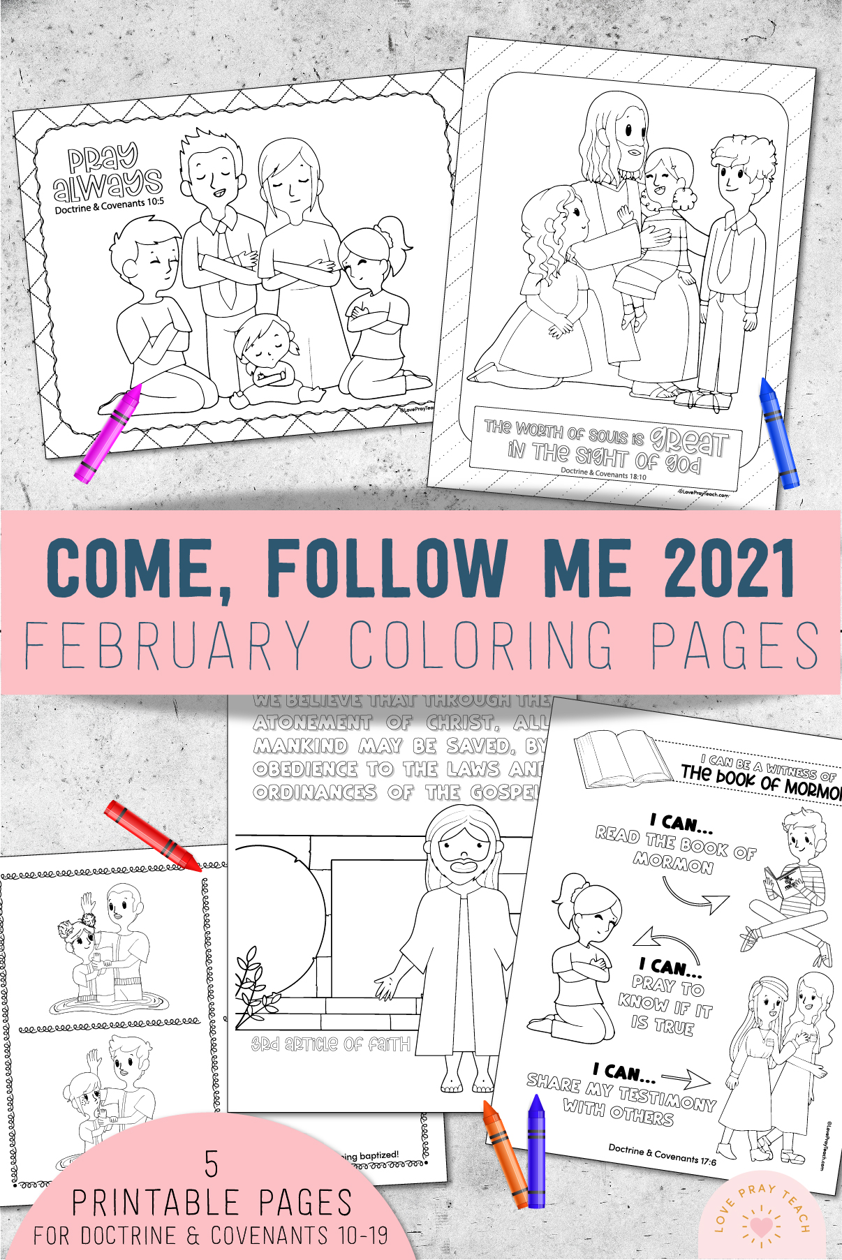 February 2021 Come, Follow Me Coloring Pages by LovePrayTeach.com