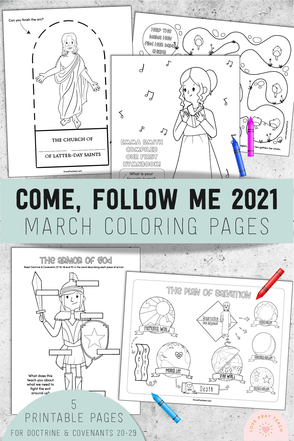 March 2021 Come Follow Me Coloring Pages by www.LovePrayTeach.com