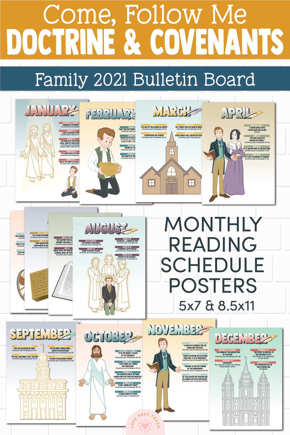 2021 Doctrine & Covenants Family Bulletin Board Printables for Come, Follow Me www.LovePrayTeach.com