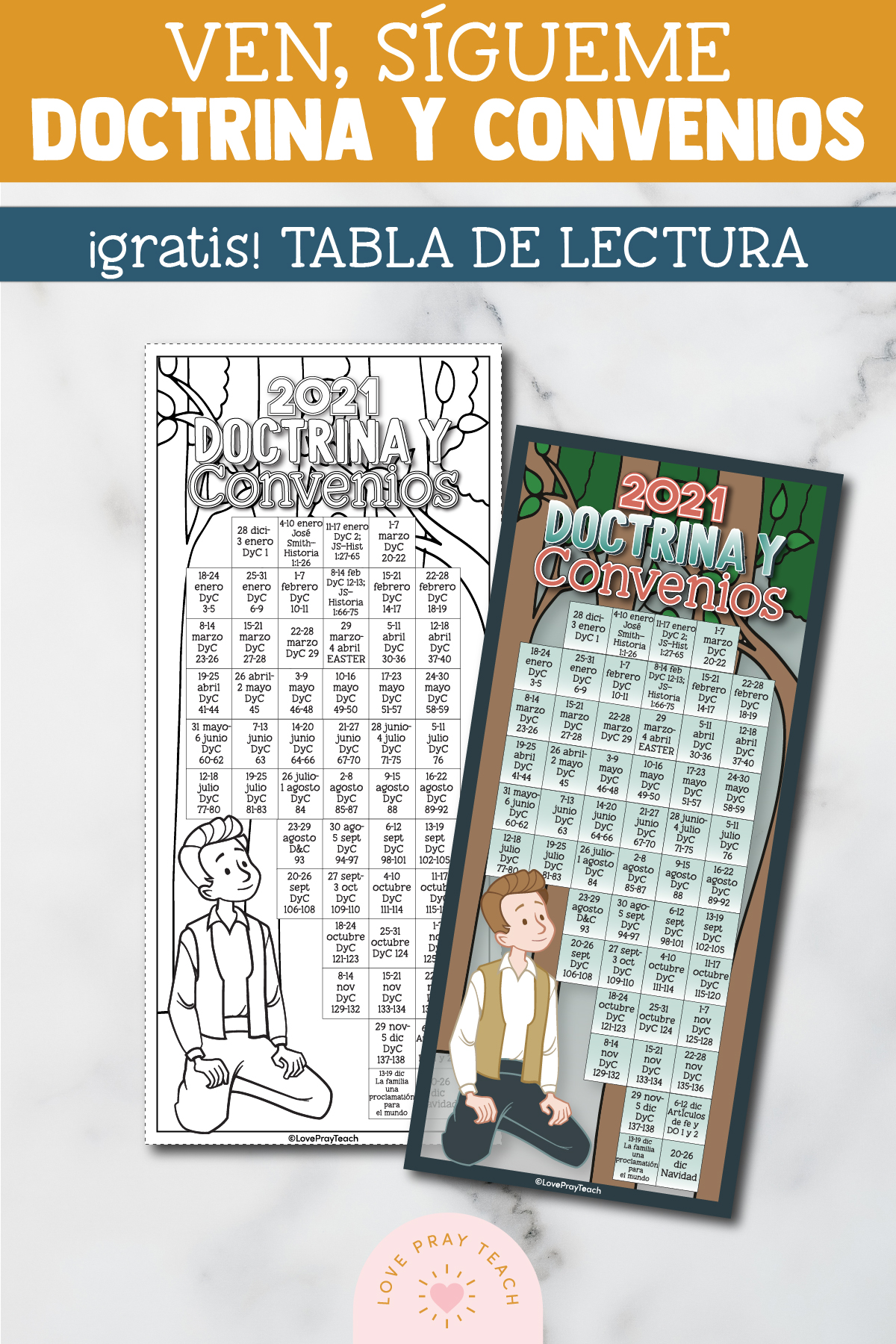 "FREE! 2021 ""Come, Follow Me"" Doctrine & Covenants Reading Chart! English and Spanish! www.LovePrayTeach.com"