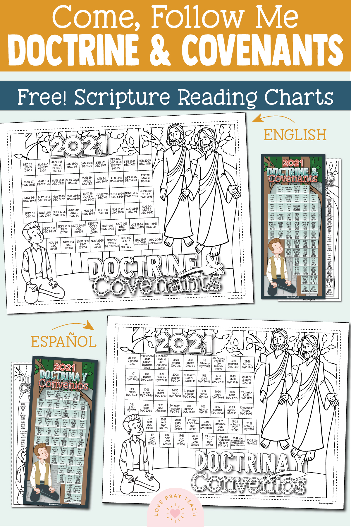 Free 2021 Doctrine and Covenants Scripture Reading Charts in English and Spanish www.LovePrayTeach.com