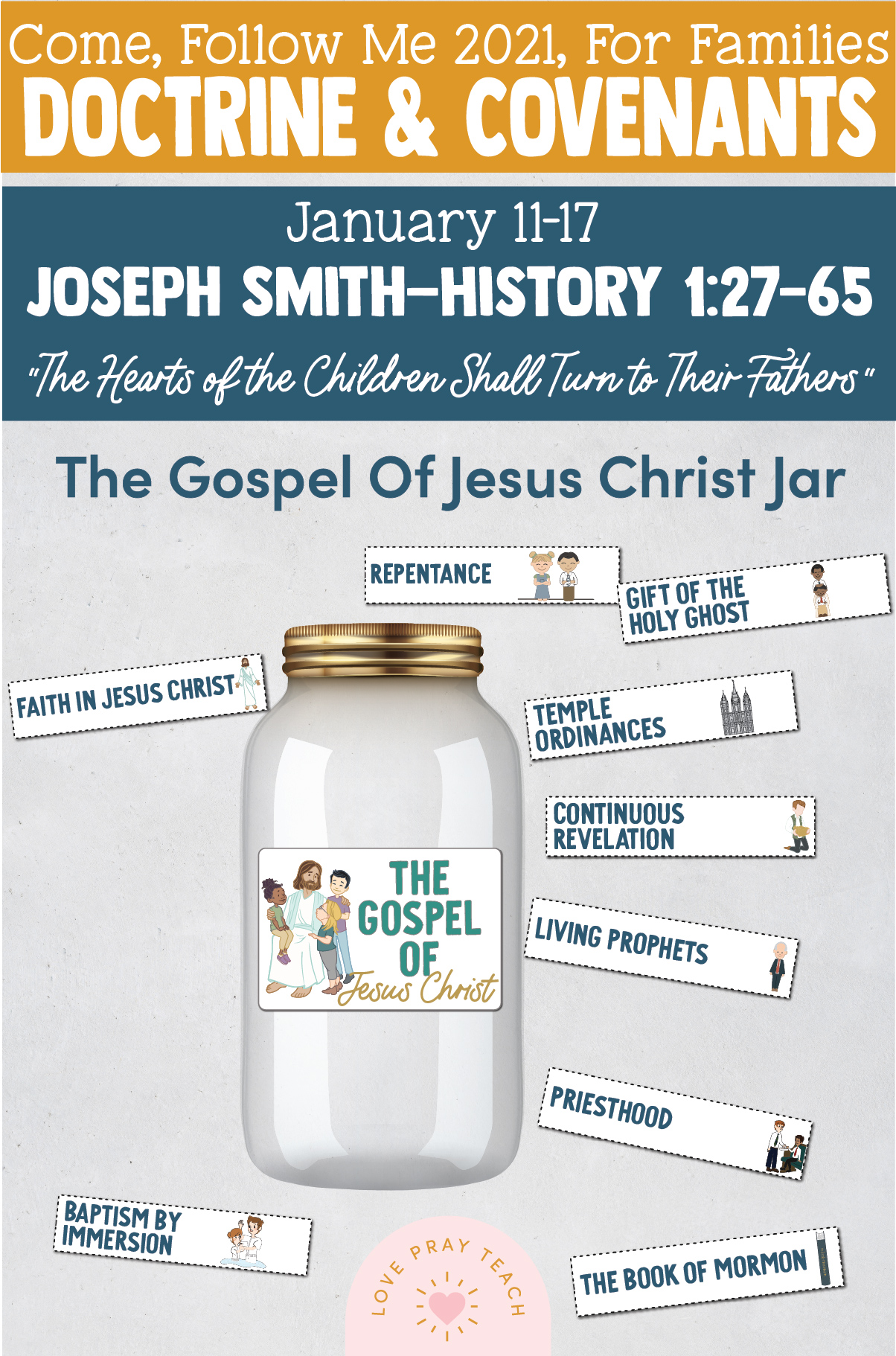 """Come, Follow Me—For Individuals and Families: Doctrine And Covenants 2021, January Week 3: January 4-10, Doctrine and Covenants 2; Joseph Smith—History 1:27–65-, """"The Hearts of the Children Shall Turn to Their"""