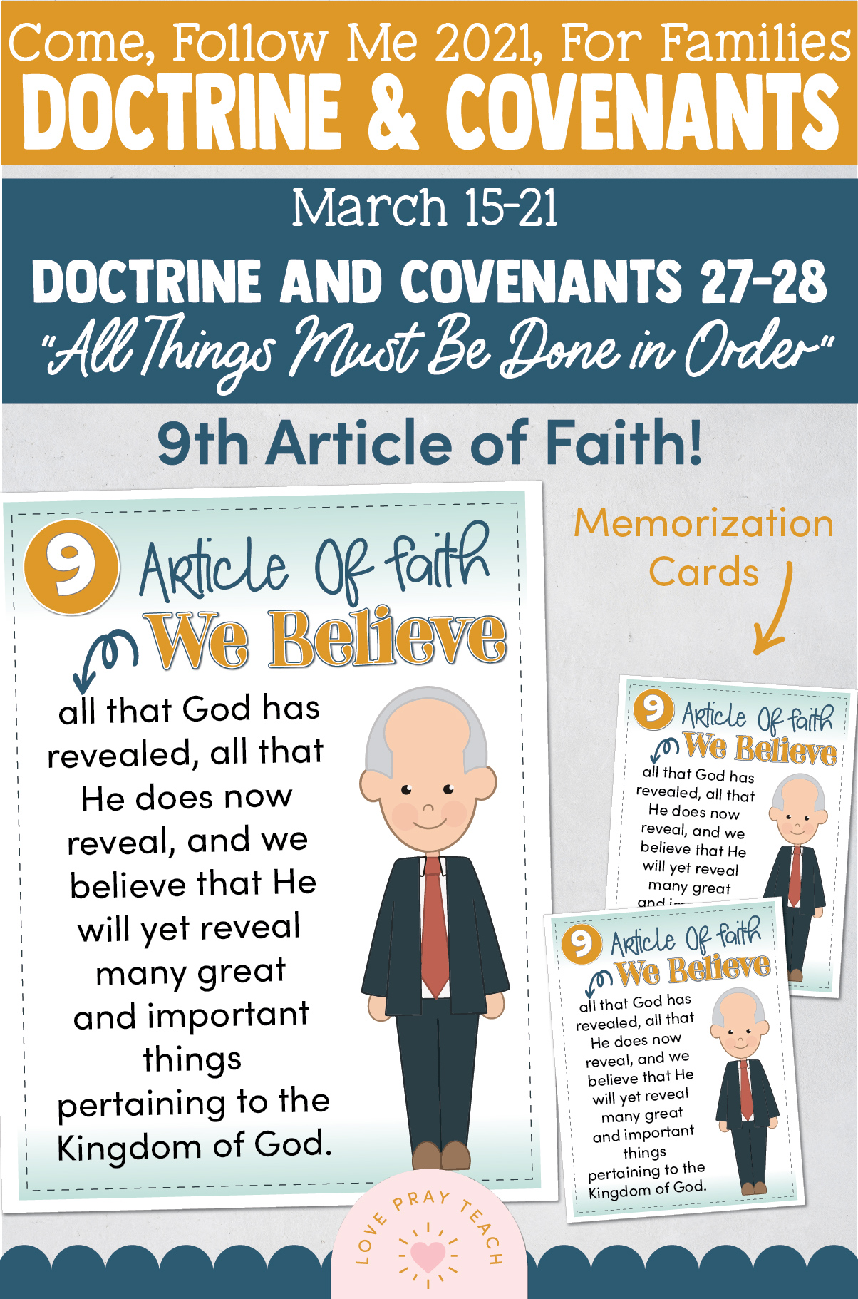 """Come, Follow Me—For Individuals and Families: Doctrine And Covenants 2021, March Week 3:March 15-21, Doctrine and Covenants 27–28, """"All Things Must Be Done in Order"""""""