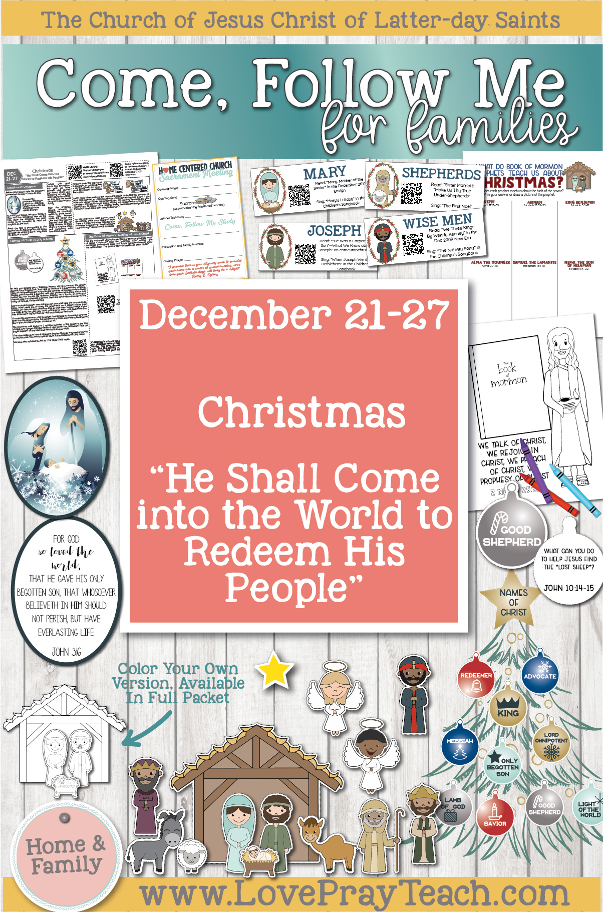 "Come, Follow Me—For Individuals and Families: Book of Mormon 2020, December Week 4: December 21–272 Christmas ""He Shall Come into the World to Redeem His People"""