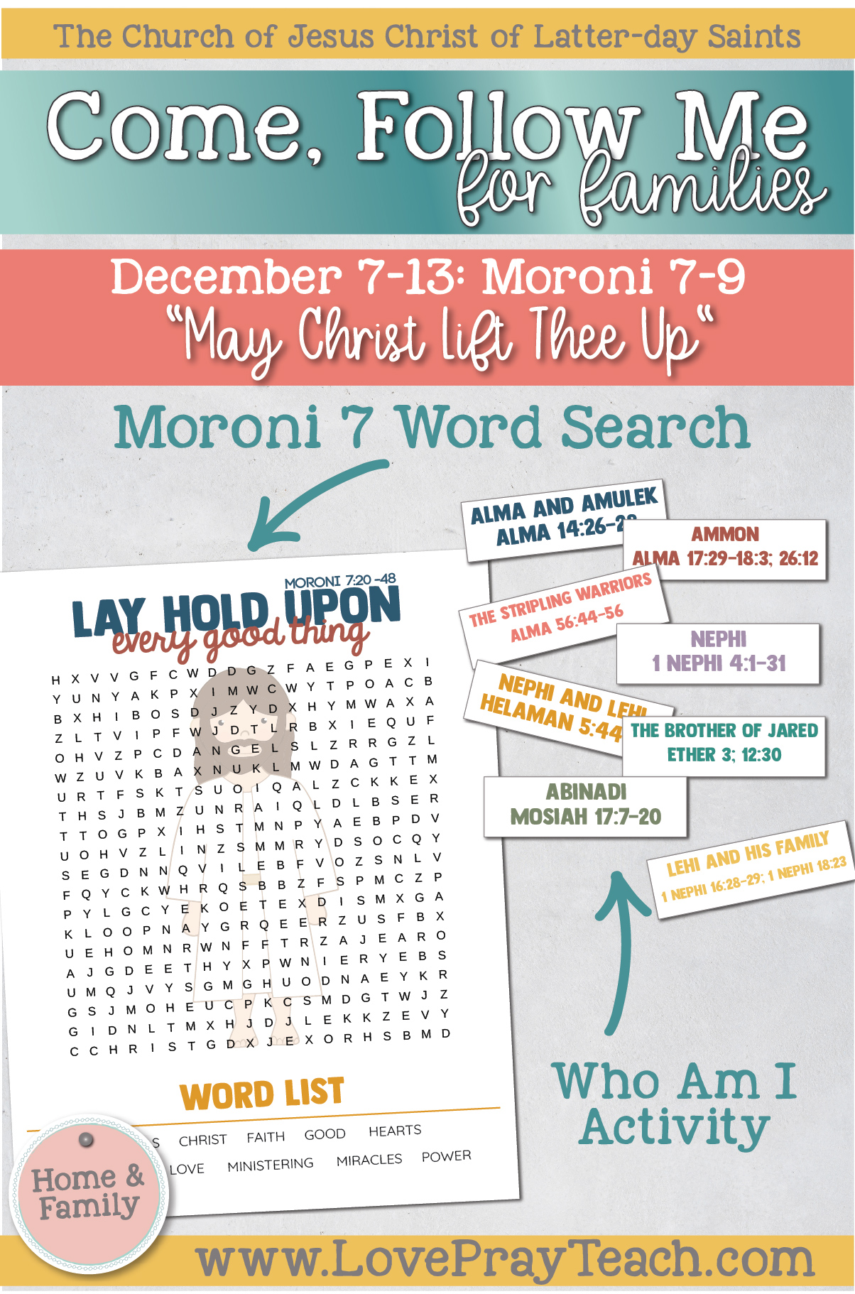 """Come, Follow Me—For Individuals and Families: Book of Mormon 2020 -December Week 2-December 7-13, Moroni 7-96""""May Christ Lift Thee Up"""""""