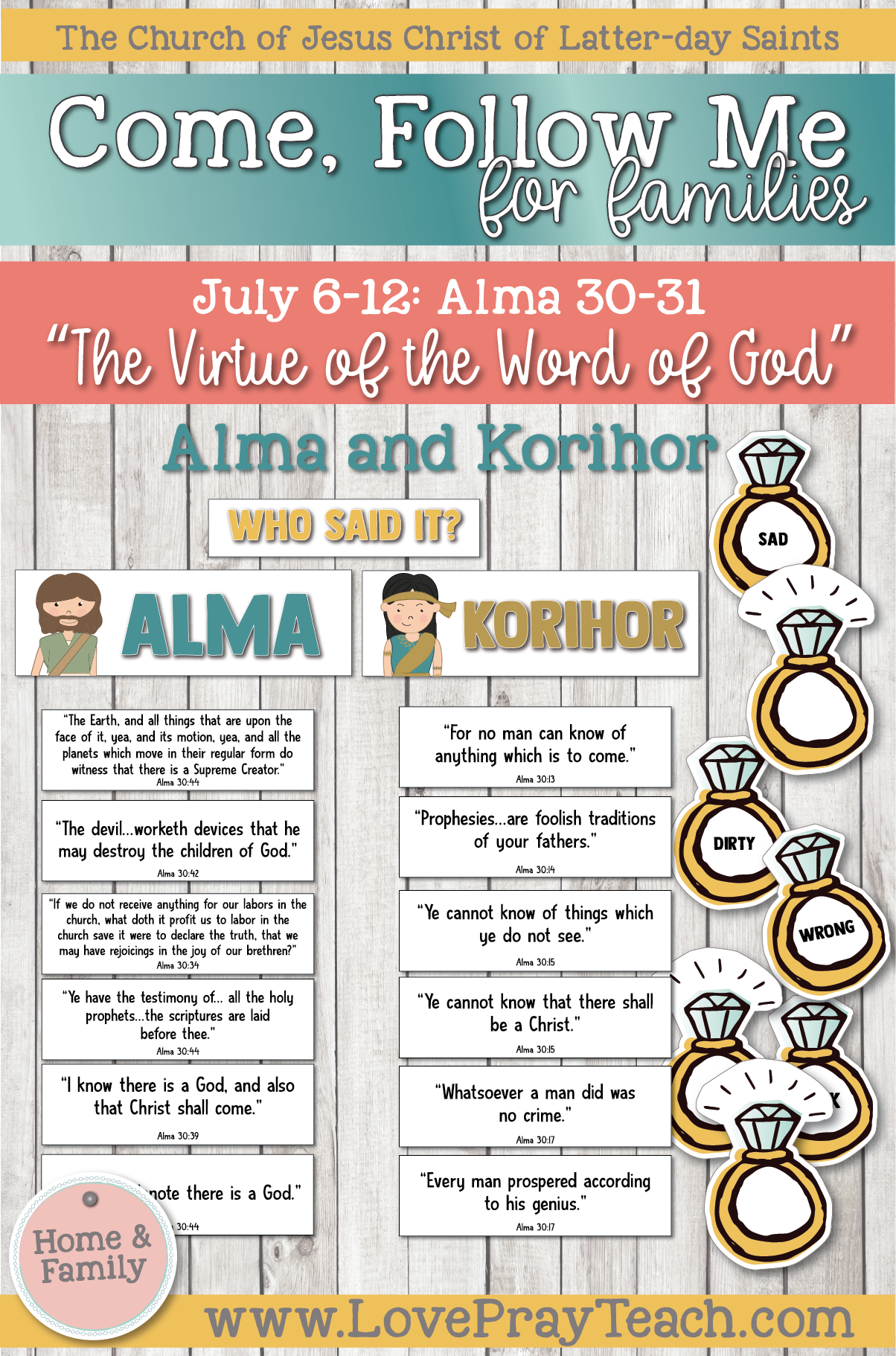 "Come, Follow Me—For Individuals and Families: Book of Mormon 2020 -July Week 2 -July 6-12 Alma 30-31 ""The Virtue of the Word of God"""